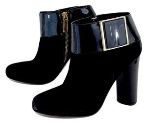 Tory Burch Black Suede Patent Leather Boots