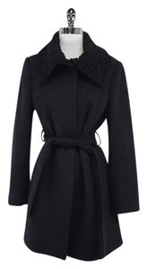 Elie Tahari Charcoal Knitted Collar Wool Coat