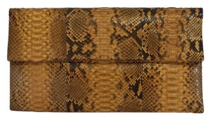 Primary Tan Python Leather Clutch