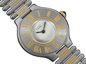 Cartier Cartier Must De 21C Mens Midsize Unisex Watch - Stainless Steel & 18K Gold