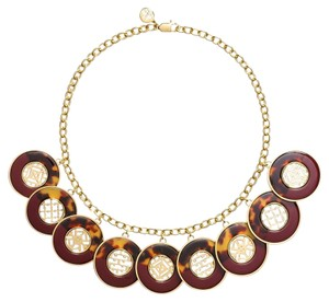 Tory Burch Perforated Charm Resin Statement Tortoise Brown Gold Plated Necklace