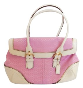Coach Color Medium To Large Leather Hangtag Satchel in Pink
