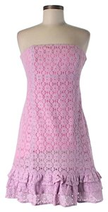 Lilly Pulitzer short dress Pink Strapless Lace on Tradesy