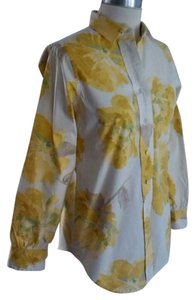 Liz Claiborne Top White with yellow floral print