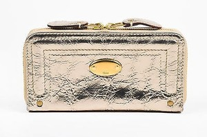 Chlo Chloe Ss 2008 Metallic Gold Crackled Leather Zip Around Continental Wallet