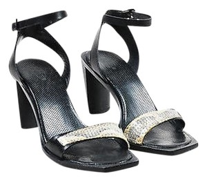 Tod's Tods Leather Sequin Black Sandals