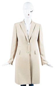 Akris Akris Tan White Wool Pinstripe Long Blazer Jacket