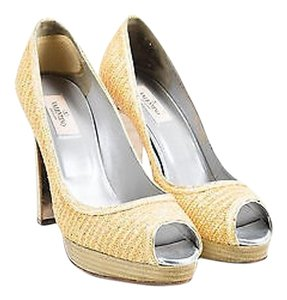 Valentino Light Tan Woven Beige Pumps