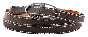 Loro Piana Loro Piana Brown Leather Silver Oval Buckle Wrap Belt