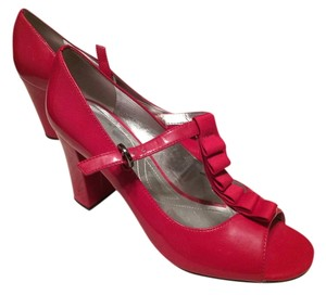 Tahari Open Toe Red Pumps