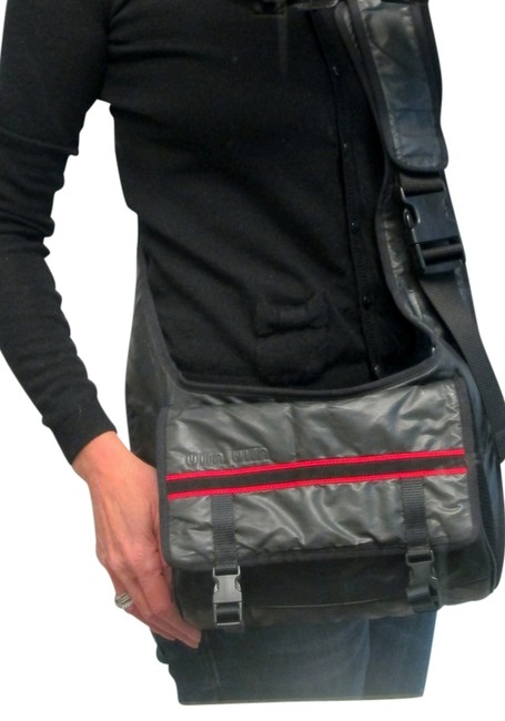 Item - Black with Red Trim Nylon Messenger Bag