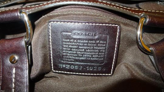 Coach Signature Psthon Stripe Tote in Brown