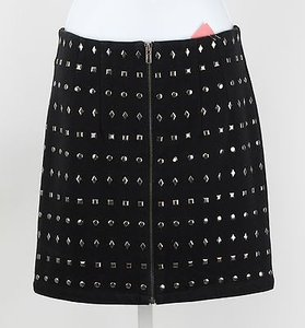 Forever 21 21 Black Silver Stud Accent Front Full Zip Mini B56 Mini Skirt