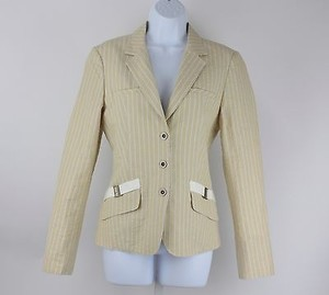 Worth Worth 14x55 Buttercup White Taupe Striped Linen Blend Blazer B59