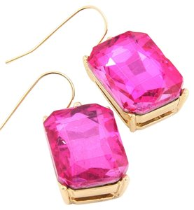 Nine vibrant pink crystal drop earrings