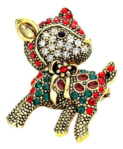 crystal holiday reindeer pin