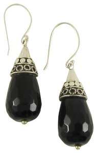 Island Silversmith Island Silversmith Rich Black Onyx 925 Sterling Silver Drop Earrings 0701V *FREE SHIPPING*