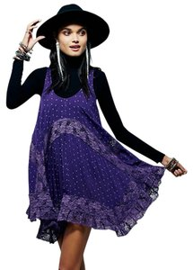 Free People short dress Plum/Prune Sheer Style on Tradesy