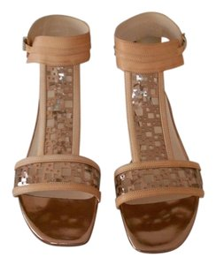 Giorgio Armani Two Tone Square Cut Outs Tan/Rose Gold Sandals