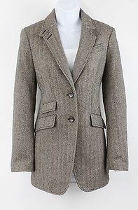Talbots Talbots Brown Cream Herringbone 2-button Lined Wool Blend Blazer B55