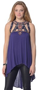 Free People Embroidered Designs Top Blue
