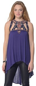 Free People Cut-out Designs Top Blue