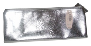 Victoria's Secret Victoria's Secret Metallic Silver Faux Leather Zipper Top Cosmetic Bag One Size