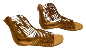 Sigerson Morrison Chic Design Braided Upper Tan Sandals