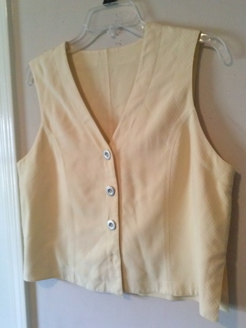 Other Pastels Retro Preppy Petites Career Top Yellow