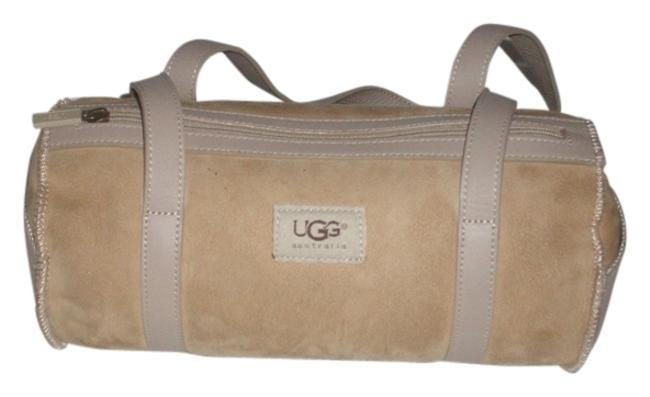 Item - Pre Owned Leather Trim Suede/Shearling Fur Lined Taupe Baguette
