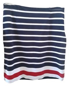 Banana Republic Striped Pencil Knit Casual Skirt Blue red white
