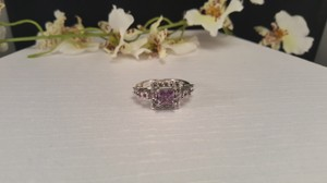 Other Amethyst Silver plated ring CZ size 8
