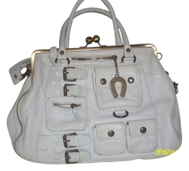 Item - New with Wrapper On Thick/Heavy Pebbled Handbag Gray Leather Satchel