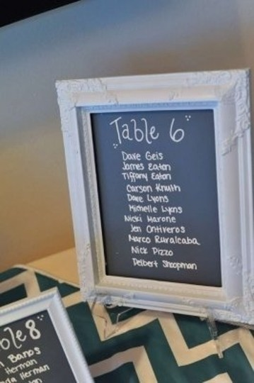 Grey and White Chalkboard Table Signs Reception Decoration