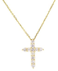14K Yellow Gold 0.50 Ct Round Diamond Cross Pendant Necklace 18