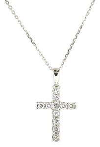 14K White Gold 0.40 Ct Round Diamond Cross Pendant Necklace 16