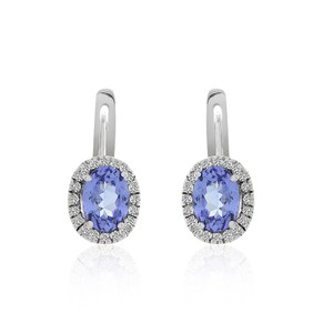Avital & Co Jewelry 1.68 Carat Tanzanite Earrings With Pave 0.30 Carat Diamond 14k White Gold