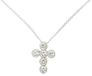Other 14K White Gold 1.06Ct Round Diamond Cross Pendant Necklace 16