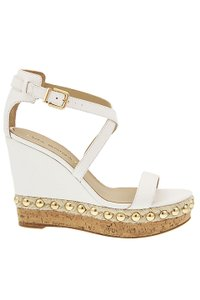 Via Spiga Leather Cork Studded White Wedges
