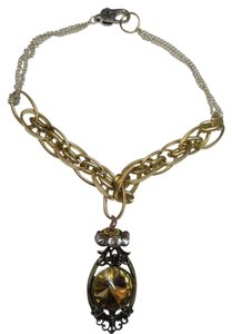 New Chunky Gold & Silver Tone Crystal Pendant Necklace J2417