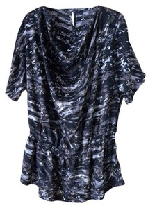 Daisy Fuentes New With Tags Peplum Polyester Draped Top Black Multi