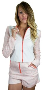 Faux Leather Bomber White, Pink Jacket
