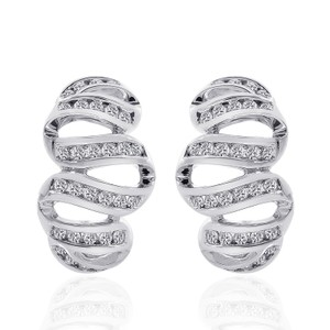 Avital & Co Jewelry 1.00 Carat Round Cut Diamond Wave Hoop Earrings 14k White Gold
