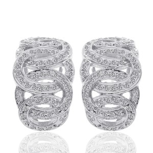 Avital & Co Jewelry 1.00 Carat Round Cut Diamond Loose Braid J-hoop Earrings 14k White Gold