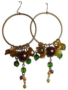 Other New Beaded Hoop Earrings Long Large Brown Green Gold Tone J2420