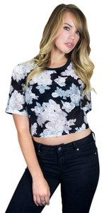 Other Crop Cropped Tee Floral Black And White Spring T Shirt Black, White