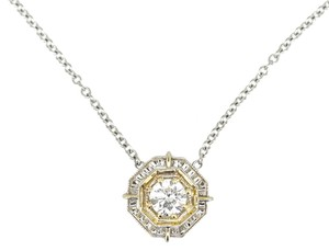 Vintage 18K Two Tone Gold 0.56Ct Round Center Diamond Necklace 5.1 Grams 16