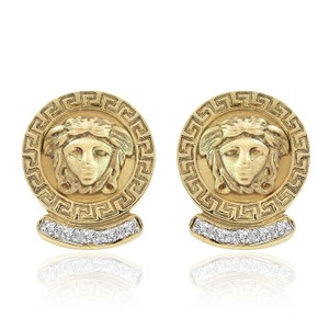 Avital & Co Jewelry 0.35 Carat Diamond Vintage Medusa Button Earrings 14k Yellow Gold