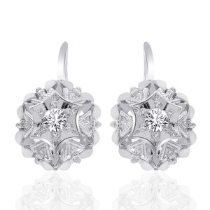 Avital & Co Jewelry 0.25 Carat White Sapphire Antique Flower Style Leverback Earring 14k W