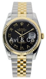 Rolex Rolex Datejust 36 Steel & Yellow Gold Watch Black Fluted Dial 116233